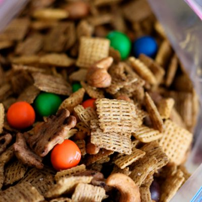 Super simple sweet Chex Mix is the perfect road trip snack