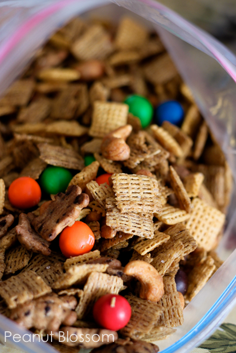Sweet Chex mix is the perfect road trip snack to bring for kids.