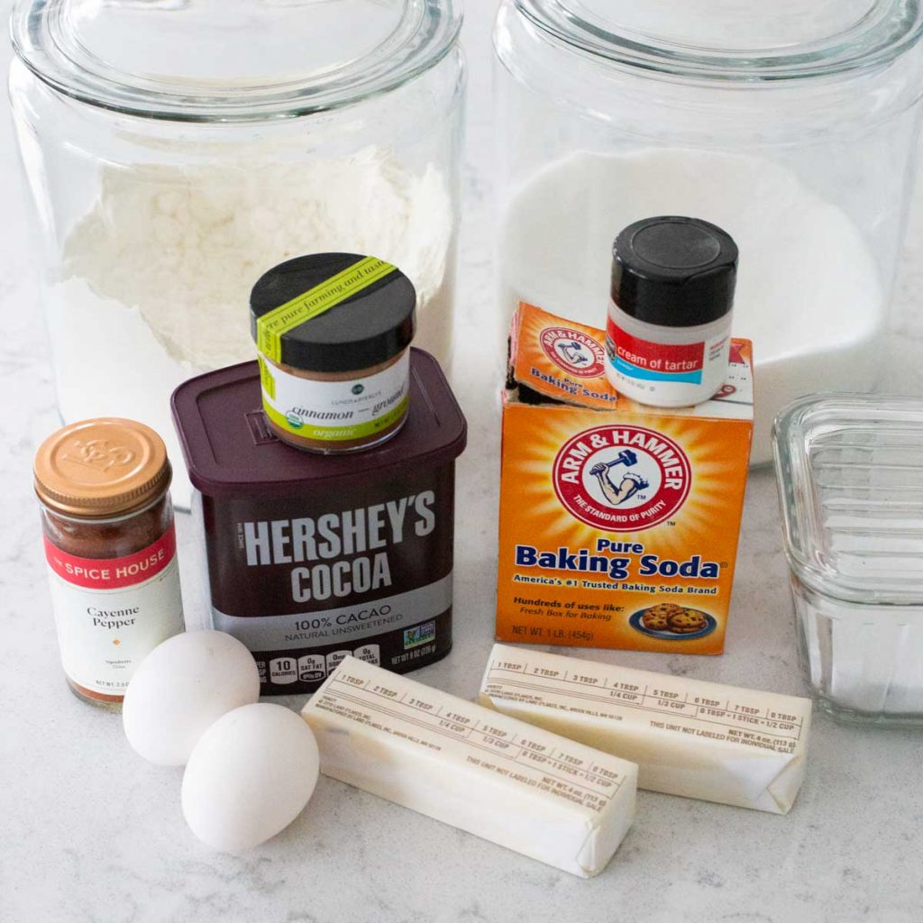 The ingredients for the Mexican Hot Chocolate Cookies on the kitchen counter.