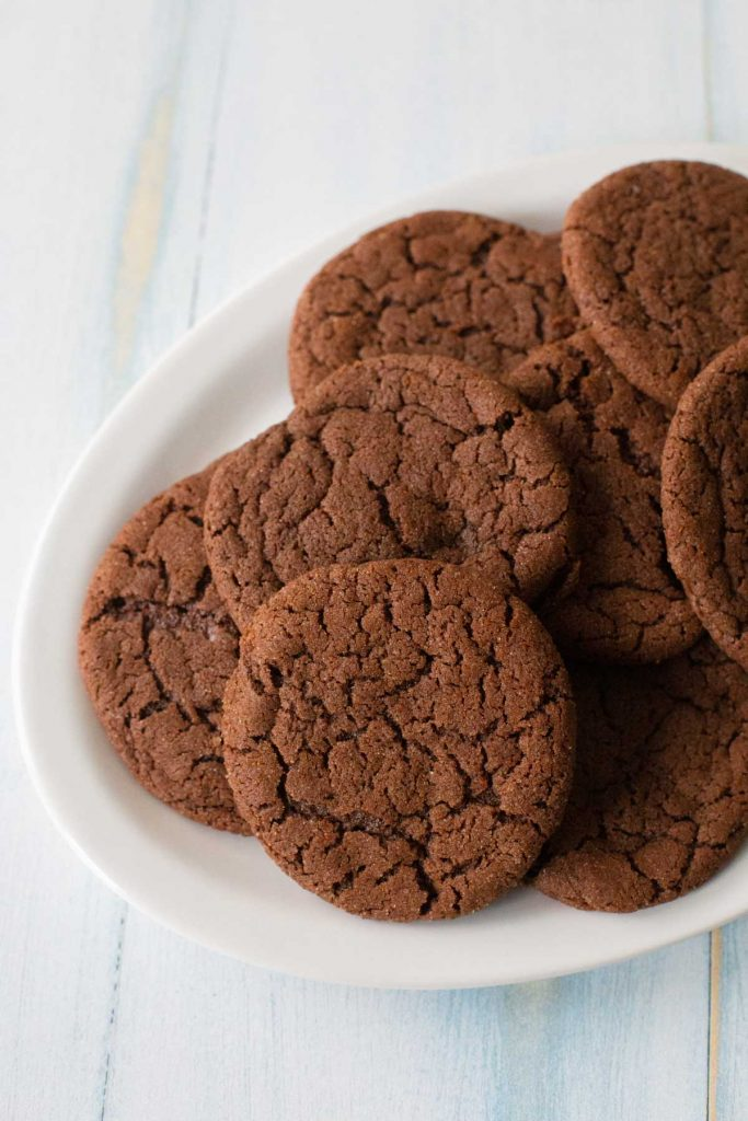 A platter of Mexican Hot Chocolate Cookies is ready for serving.