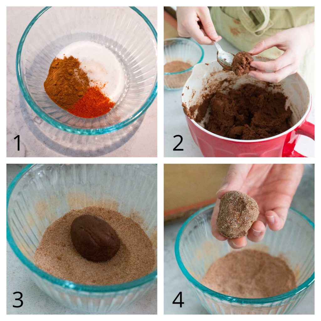 Step by Step instructions for coating the Mexican hot chocolate cookies in the cinnamon, cayenne sugar mix.
