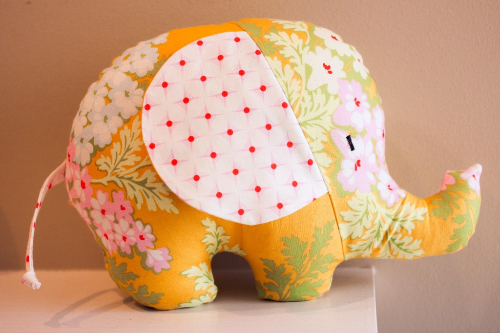 Simple sewn stuffed elephant