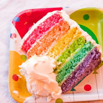 A slice of rainbow cake shows the 6 layers of colors next to a scoop of ice cream.