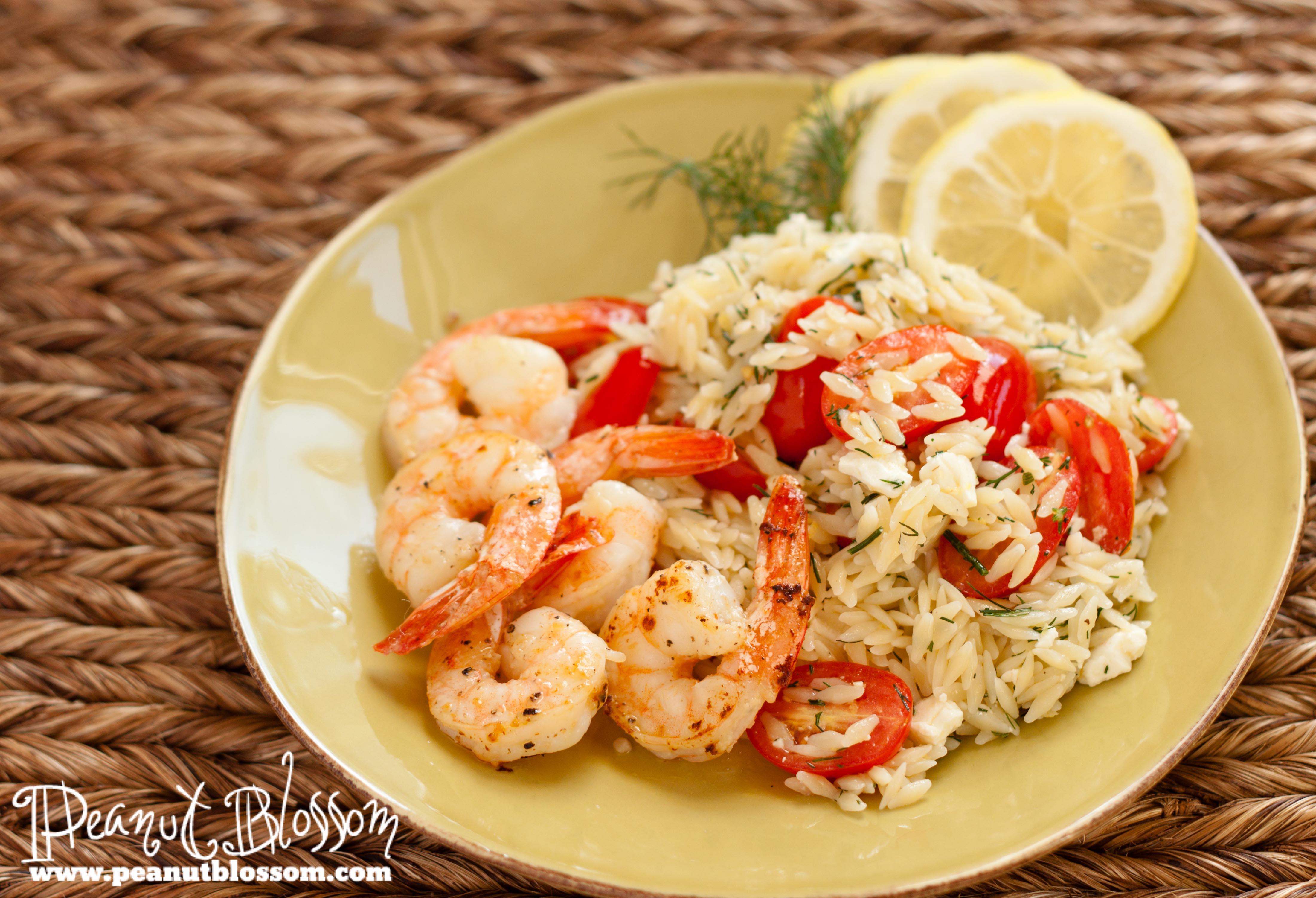 Shrimp with lemony orzo & tomato salad