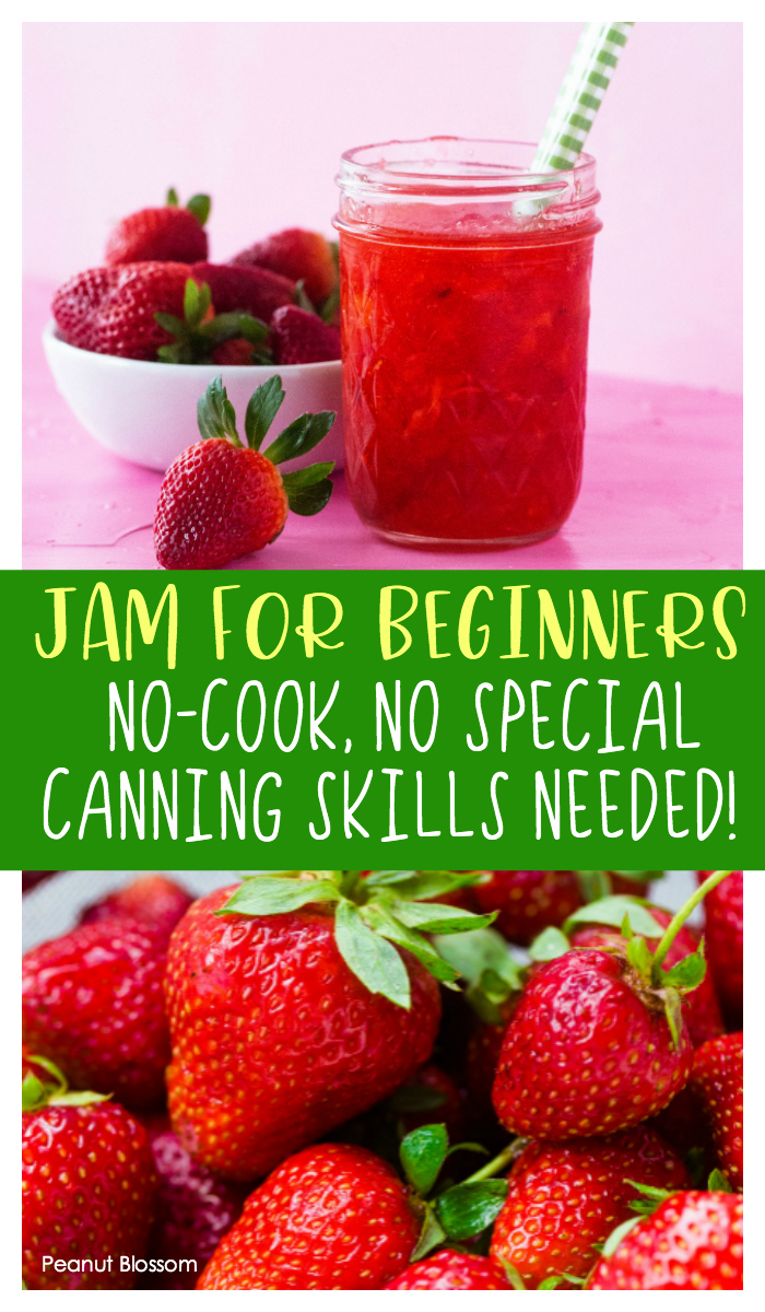 This easy strawberry freezer jam is perfect for beginners! There's no cooking or special canning skills required.