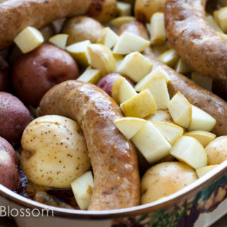 roasted sausages, potatoes & apples