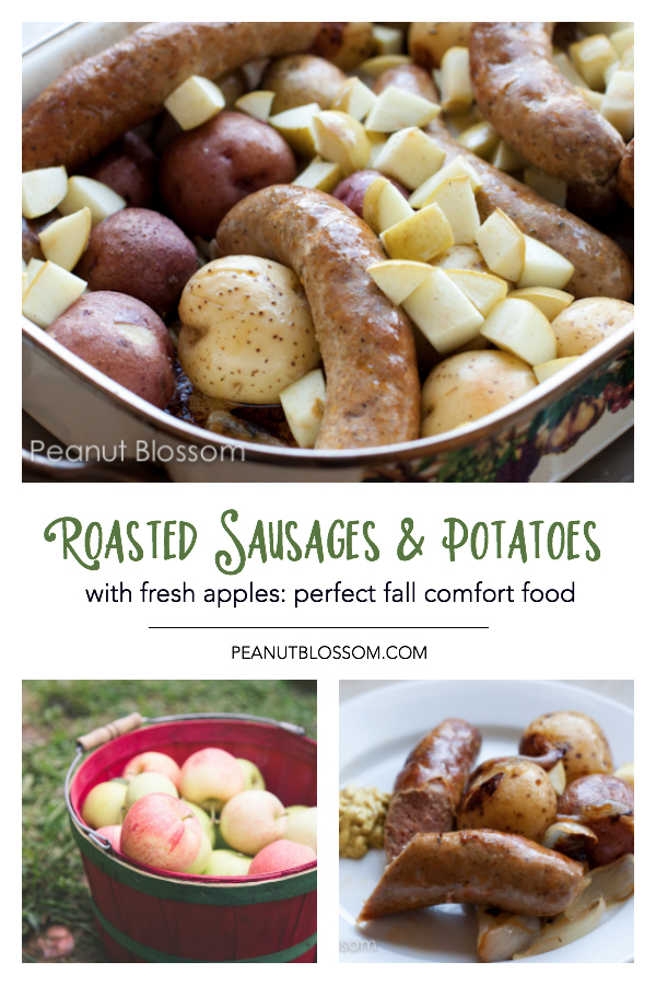 Roasted sausages and potatoes with apples is perfect fall comfort food.