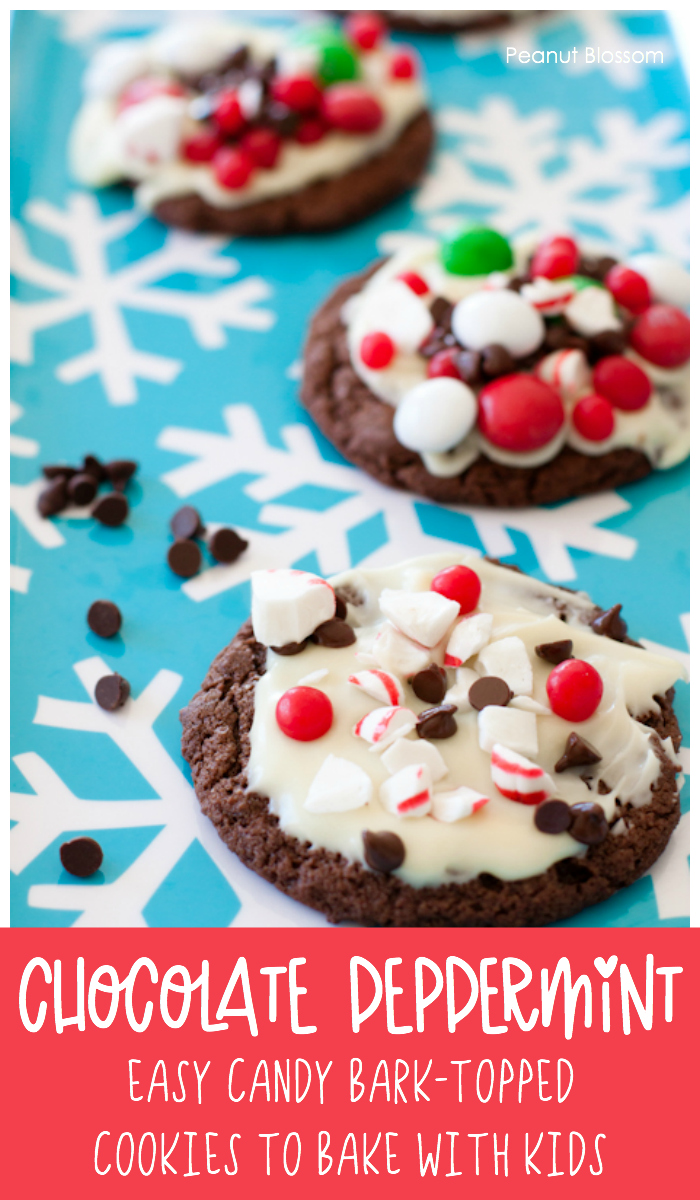 Easy chocolate peppermint bark cookies to bake with kids. So much fun making custom candy bark topped cookies together this holiday season.