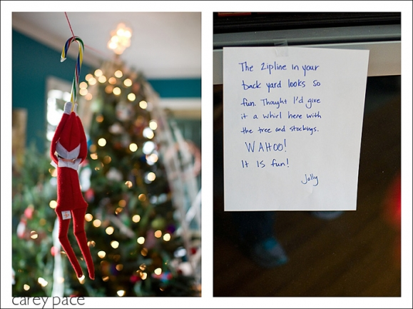 Elf on the Shelf goes zip lining by Carey Pace