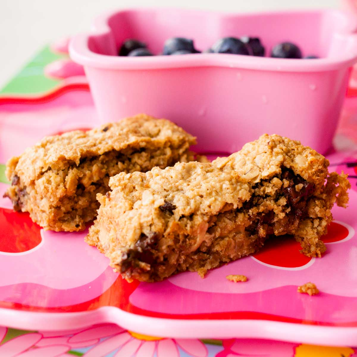 Two homemade peanut butter granola bars with chocolate chips sit on a pink butterfly plate.