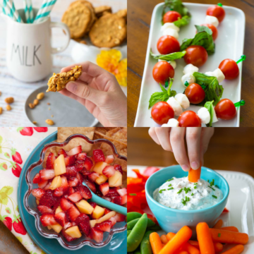 A photo collage shows a variety of fresh and healthy after school snacks for kids.