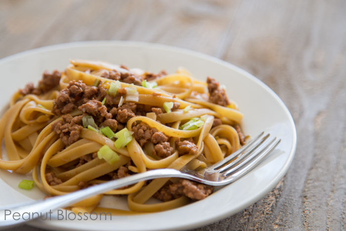 Chinese noodles with pork and spicy peanut sauce
