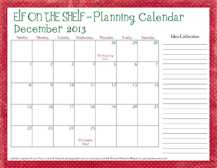 Elf on the Shelf Planning Calendar Carey Pace700