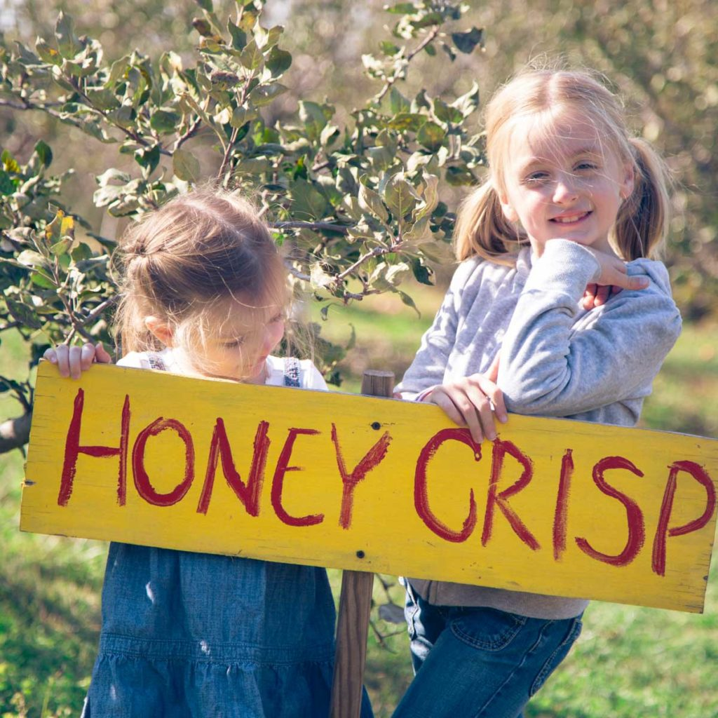 """Two girls stand next to a wooden sign painted to read """"Honey Crisp"""""""