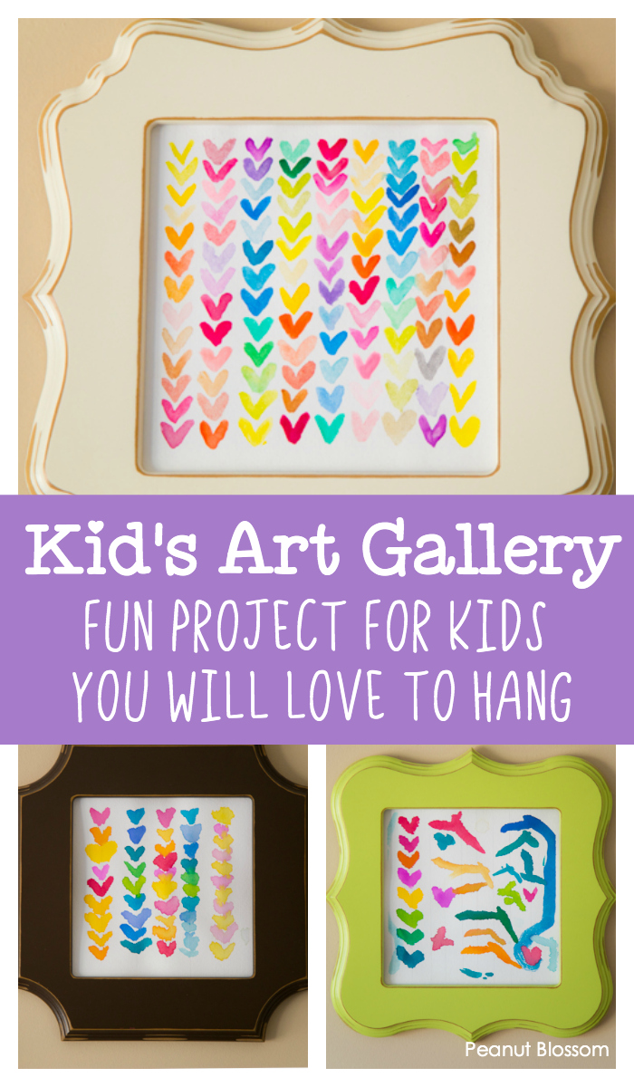 Kids' Art Gallery: A fun project for kids you will love to hang. These sweet rainbow hearts are done in watercolor paints and are perfect for kids of all ages.