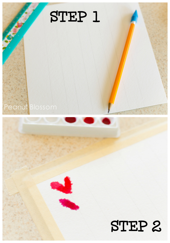 How to prepare the paper for the cutest watercolor painting project ever. Step 1: Draw lines on the paper. Step 2: Create a border with masking tape and begin painting the hearts.