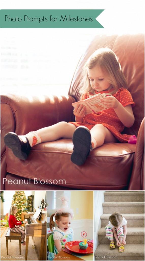5 photo prompts for milestone photos for older children | Peanut Blossom
