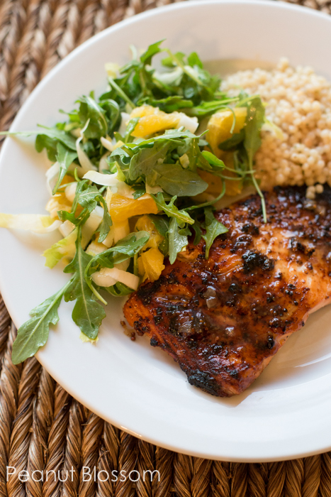 Mustard glazed salmon with a citrus & arugula salad | Peanut Blossom