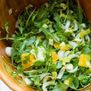 arugula and oranges salad with mustard vinaigrette