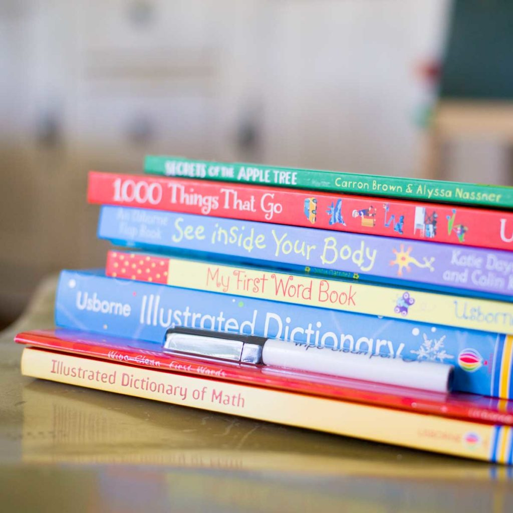 A pile of children's books for a home library.