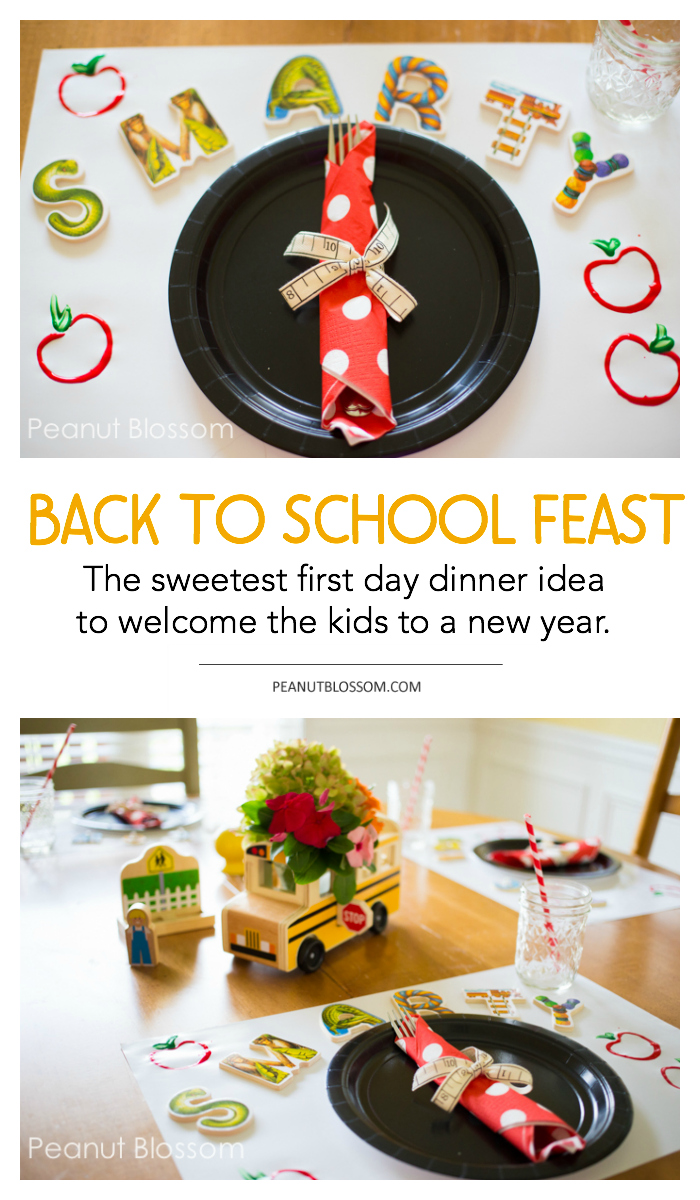 Back to school dinner: a sweet and simple first day dinner idea to welcome your kids to a new school year.