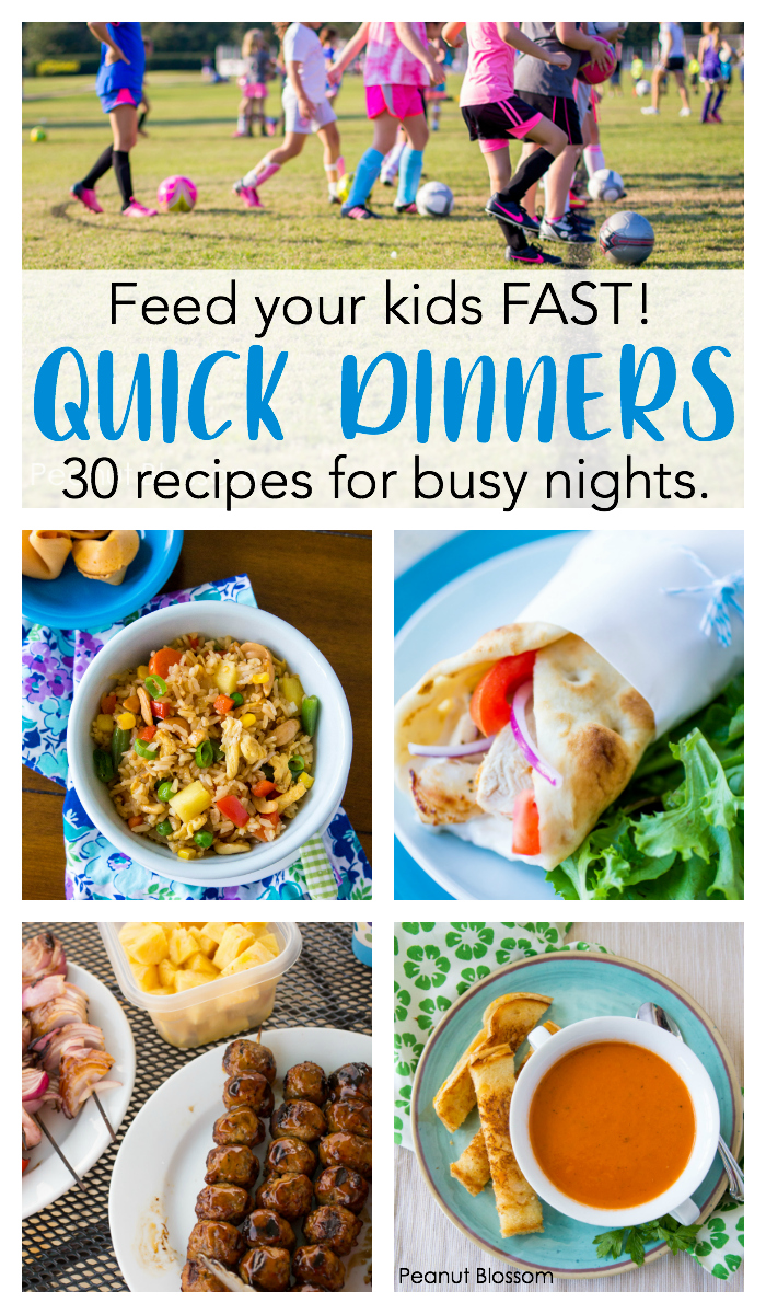 30 quick dinner ideas: These great on the go dinner ideas for families on soccer night will help you skip the drive-thru and feed your kids fast.