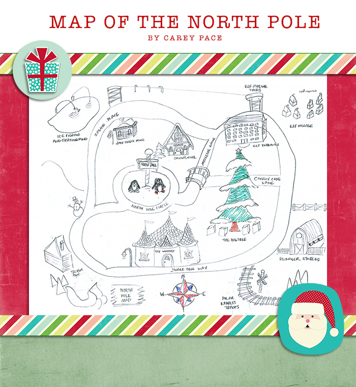 North Pole Map for Elf on the Shelf by Carey Pace 2014