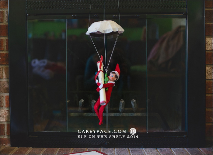 Elf on the Shelf parachutes by Carey Pace 2014
