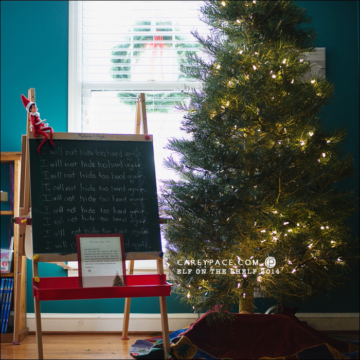 Elf on the Shelf writes on chalkboard by Carey Pace 2014