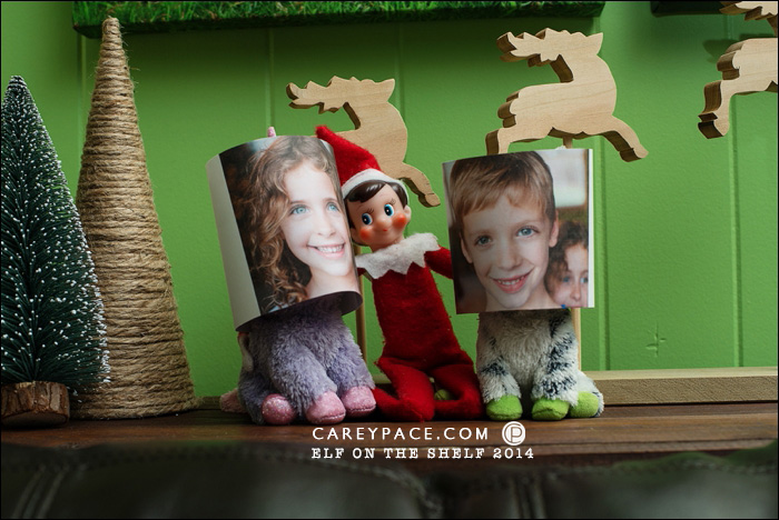 Masks on the Stuffed Animals for Elf on the Shelf by Carey Pace 2014