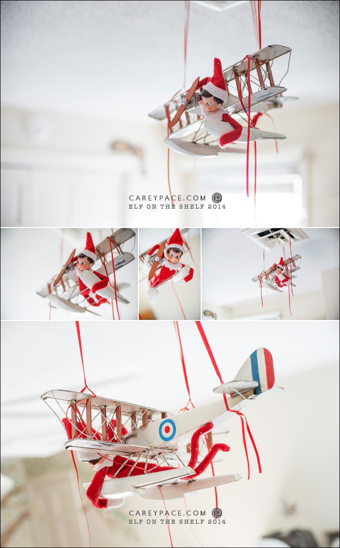 Elf on the Shelf flies in airplane by Carey Pace