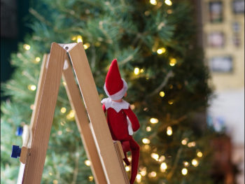 Elf on the Shelf perched on chalkboard easel by Carey Pace 2014 - Child hood Magic