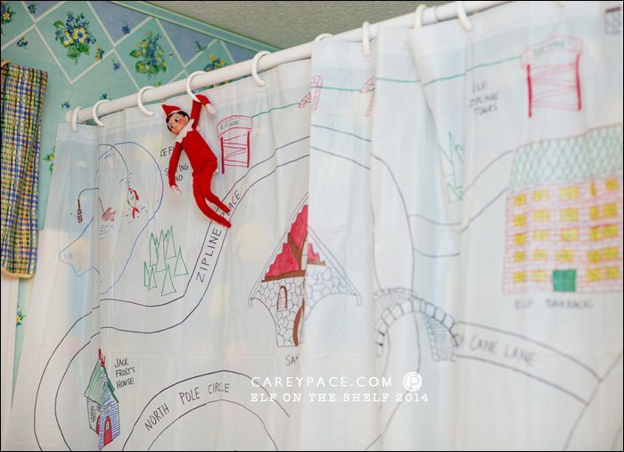 Map of the North Pole on a shower curtain by Carey Pace 2014 for Elf on the Shelf