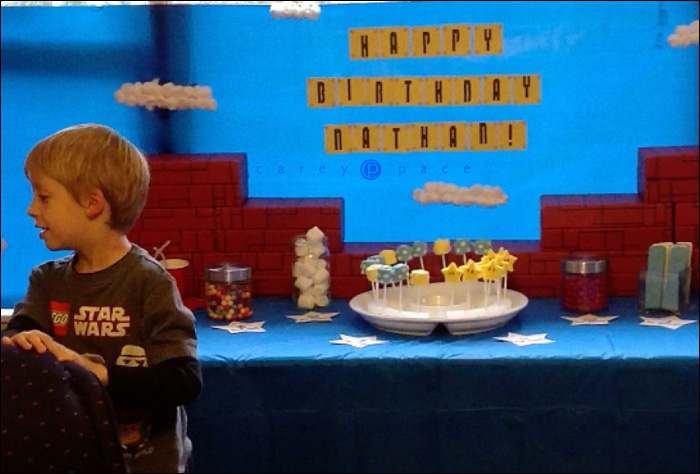 Super Mario Birthday Party backdrop by Carey Pace