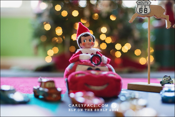 Cars scene with Elf on the Shelf by Carey Pace