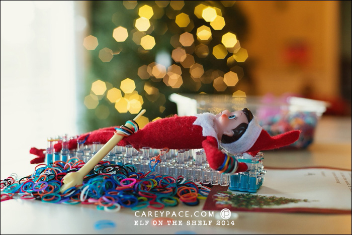 Elf on the Shelf stuck in the Rainbow Loom by Carey Pace