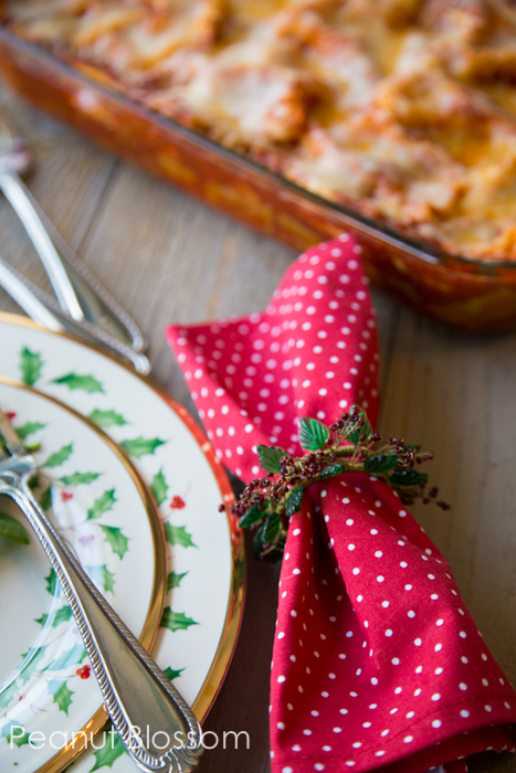 Sweet and spicy roasted red pepper lasagna