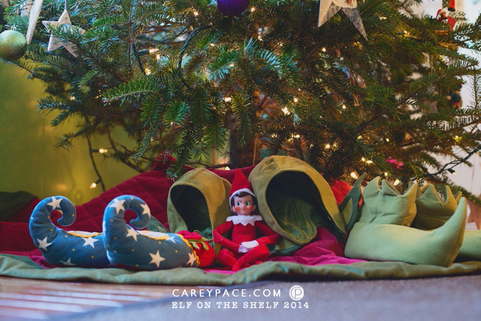 Elf on the Shelf brings Elf hats and shoes by Carey Pace