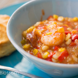 Spicy Shrimp Stew with Corn and Peppers