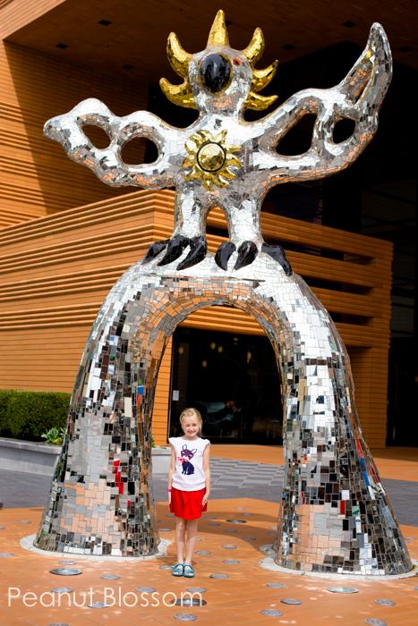 The fiery phoenix outside of the Mint Museum Charlotte