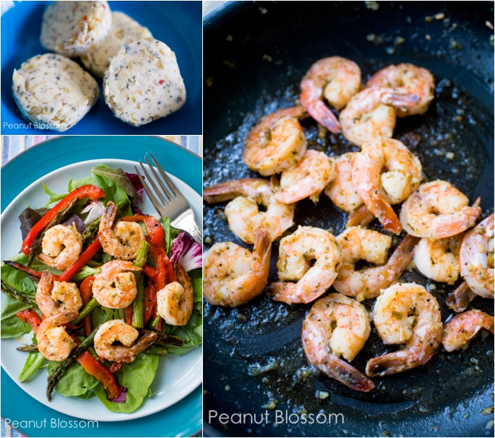 Lemon and Garlic Shrimp with roasted red peppers and asparagus salad