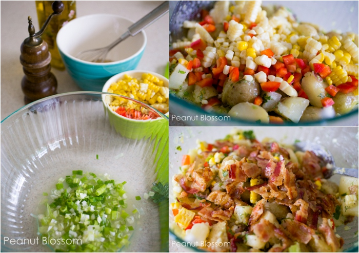 Summer potato salad with bacon