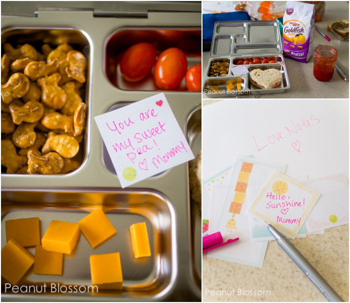 Kindergarten lunch idea - small notes of encouragement hidden in their lunchbox