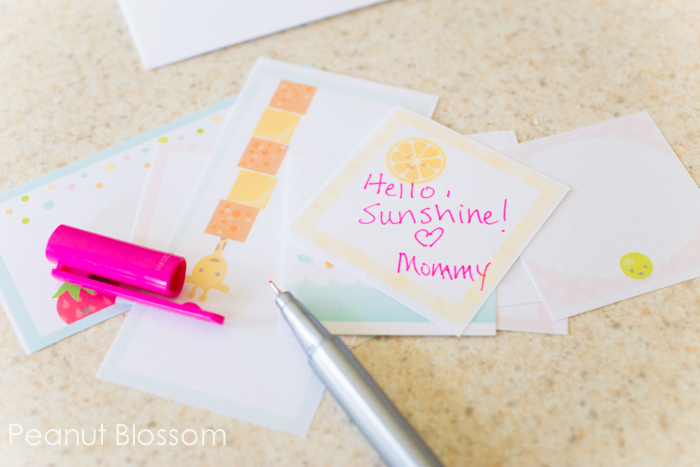 Kindergarten lunch idea - write little notes of encouragement in advance and have on hand to add to their lunch