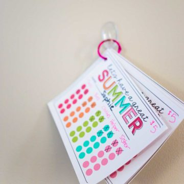 Printable chore cards for summer hang on a loop.