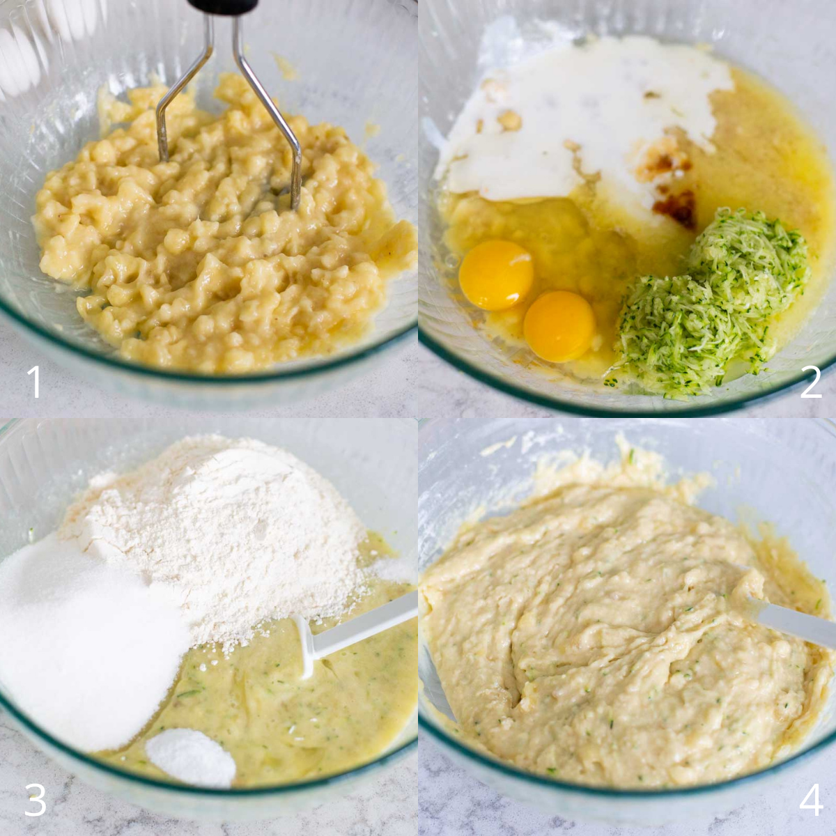 Step by step photos show how to make the batter for homemade banana zucchini bread.