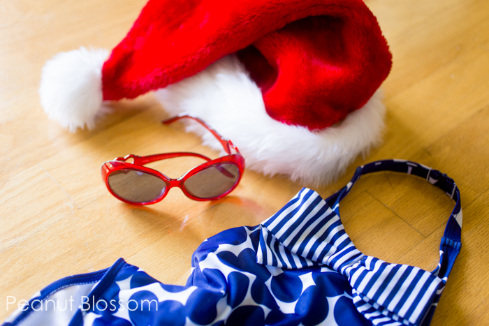 Planning ahead! Pack these Christmas props for summertime holiday card session on your next vacation.