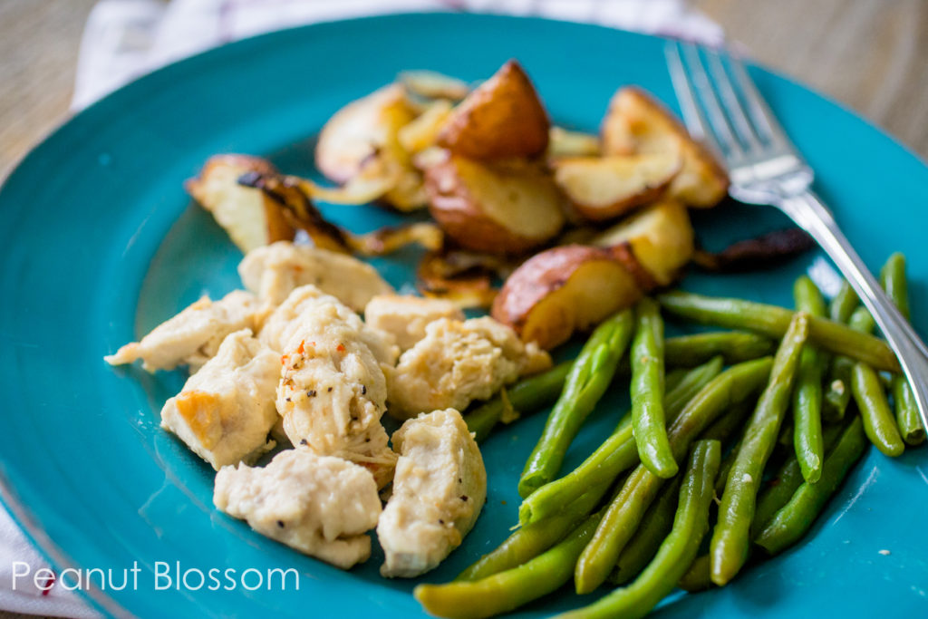 Dijon chicken with roasted potatoes and green beans. Only 10 WW points for the whole plate!