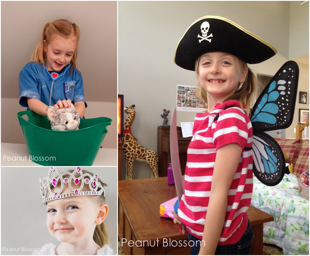 Pirate vs. Princess: Let them be both! Fantastic Halloween costumes that stock your dress up bin all year round.