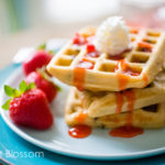 Peanut butter waffles with chocolate chips & strawberry jam
